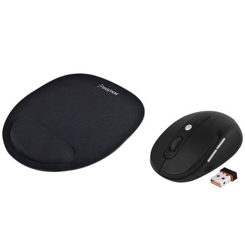 Insten Black Wrist Comfort Mouse Pad MousePad+2.4G Cordless Wireless Optical Mouse