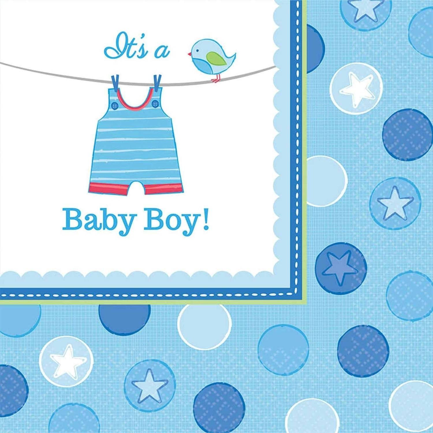 Baby Shower Boy Shower with Love Lunch Napkins, Pack of 16