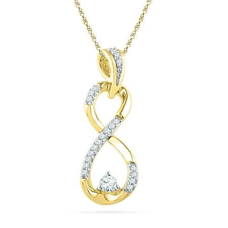 10kt Yellow Gold Womens Round Diamond Vertical Infinity Pendant 1/5 Cttw