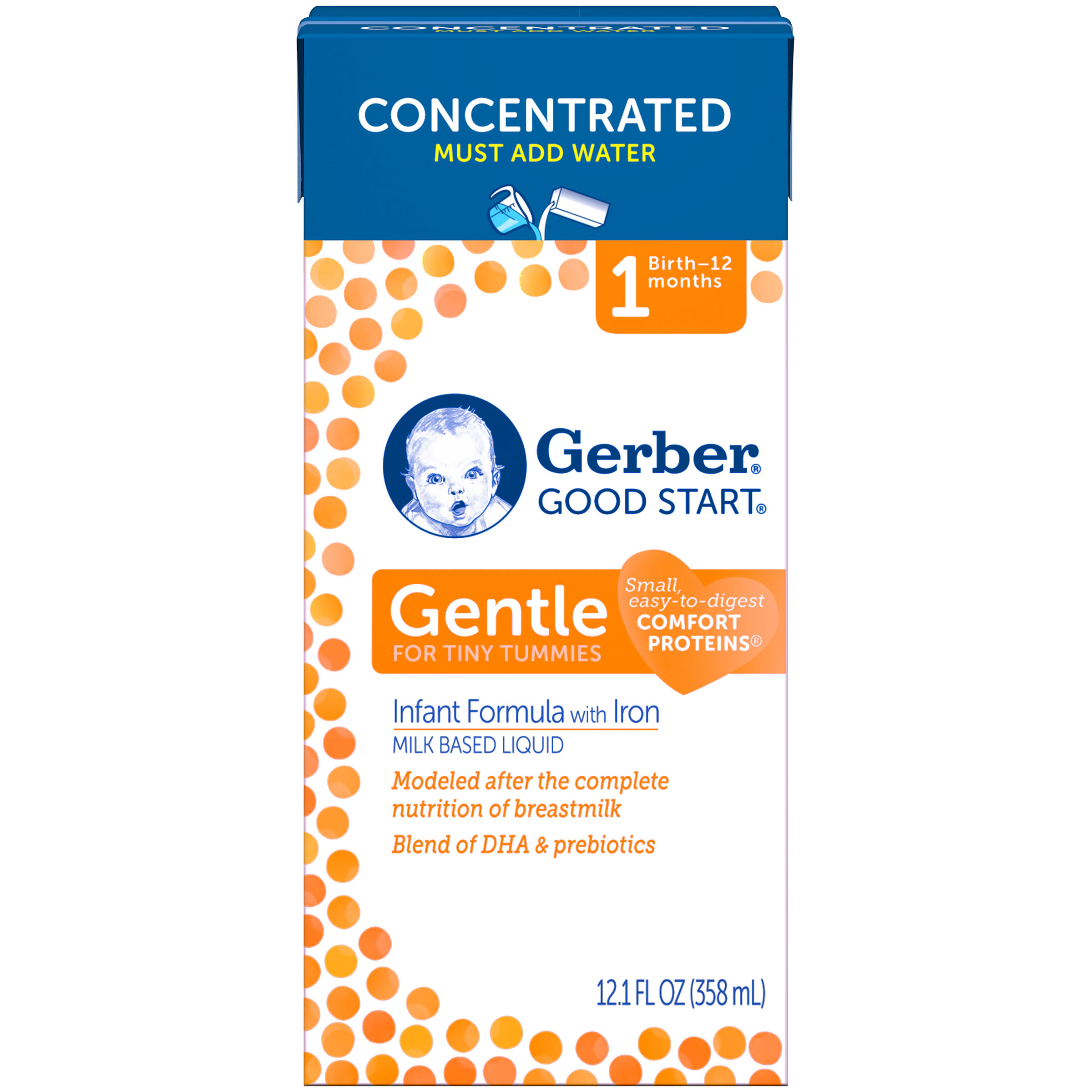 Gerber Good Start Gentle Non-GMO Concentrated Liquid Infant Formula, Stage 1, 12.1 fl oz (Pack of 12)