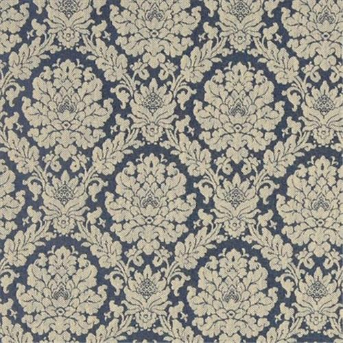 Designer Fabrics A451 54 inch Wide Tan And Navy Blue Two Toned Floral Brocade Upholstery Fabric