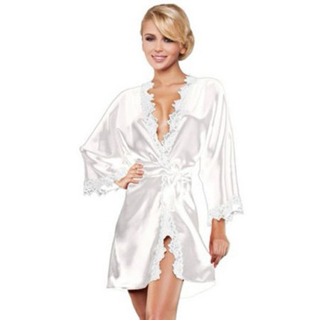 5f0267ab30e6 Womens Lace Satin Kimono Sleepwear Nightdress Luxury Lingerie Dressing Gown  Robe - Walmart.com