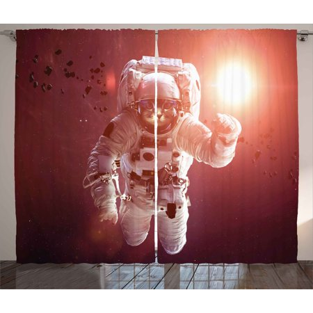 Space Cat Curtains 2 Panels Set, Pet Cat in Outer Space Planet Meteors Galaxy with Astronaut Suit Image, Window Drapes for Living Room Bedroom, 108W X 63L Inches, White Purple - Bedroom Suit