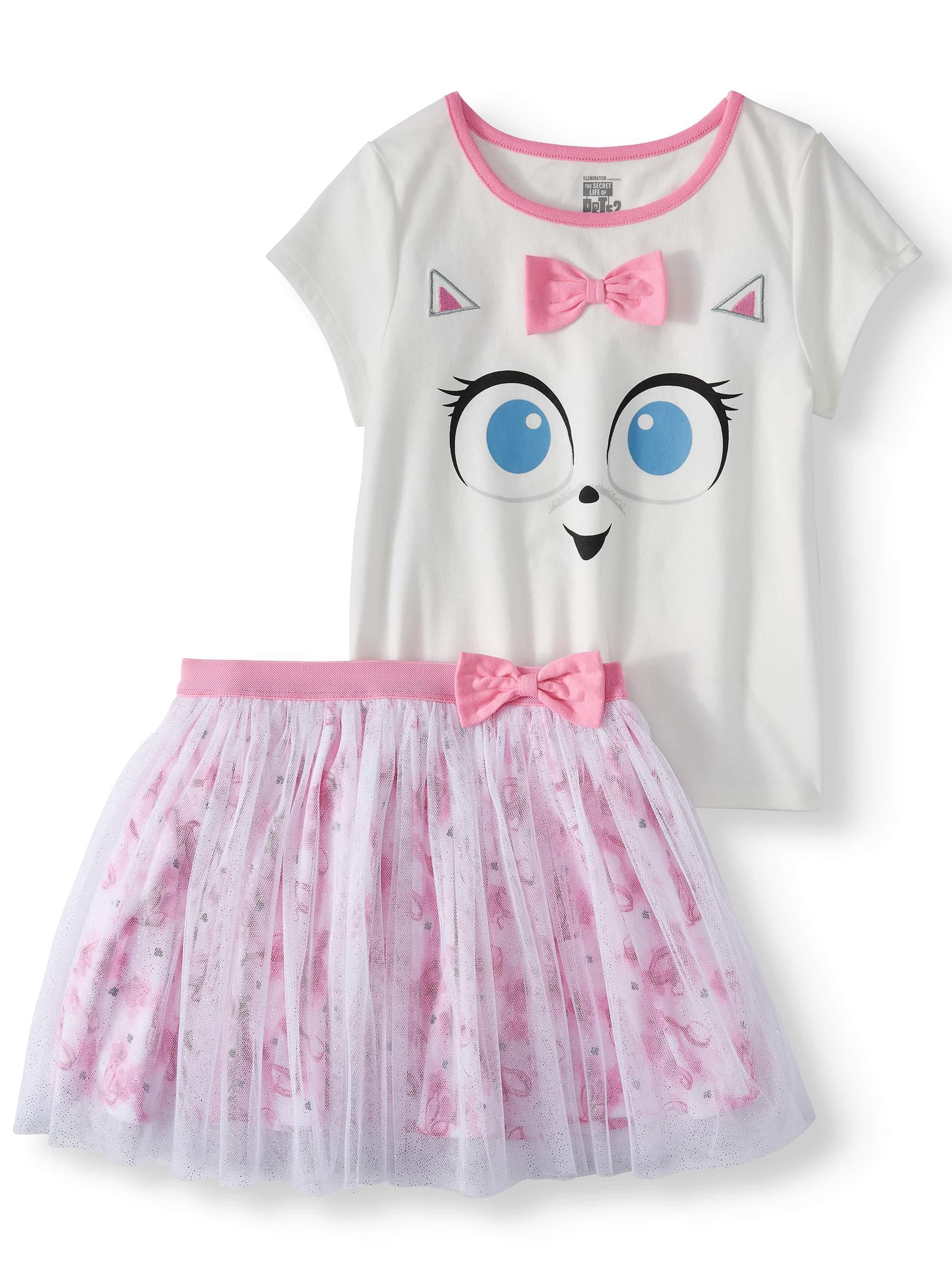 Gidget Tee and Foil Mesh Tutu Skirt, 2-Piece Outfit Set (Little Girls & Big Girls)