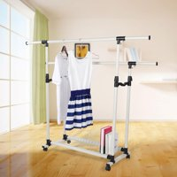 Ccdes Collapsible Clothes Dryer, Clothes Dryer,Adjustable Collapsible Rolling Double Rails Garment Clothes Coat Rack Dryer Hanger