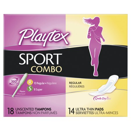 Playtex Sport Combo Pack 10 Regular Absorbency Tampons, 8 Super Absorbency Tampons And 14 Ultra Thin Pads Regular Absorbency - 32 Count