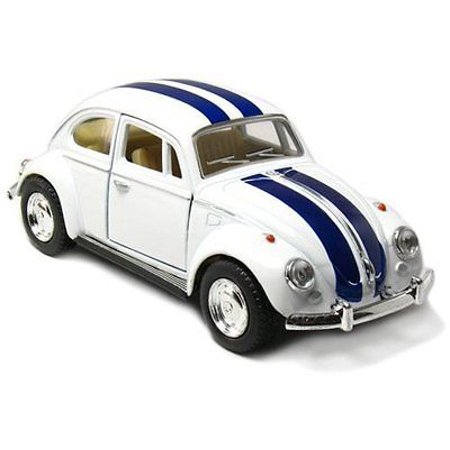"5"" Kinsmart Volkswagen Beetle VW Bug w/ Stripes Diecast Model Toy 1:32 White"