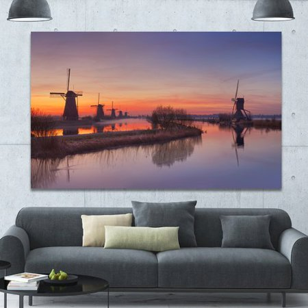 Orange Windmill - Design Art 'Dutch Windmills Panorama' Photographic Print on Wrapped Canvas