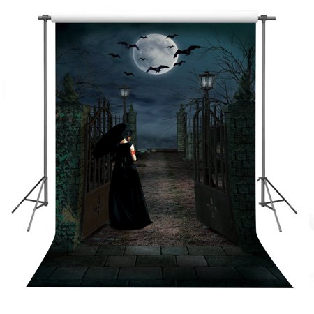 MOHome Polyster Halloween Theme Photo Background 5x7ft Horror Dark Night Photography Backdrop Props for $<!---->