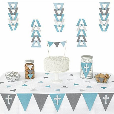 Little Miracle Boy Blue & Gray Cross - Baptism Triangle Party Decoration Kit - 72 - Baptism Decoration Ideas