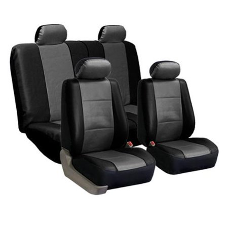 FH Group PU Leather Gray And Black Car Seat Covers Full