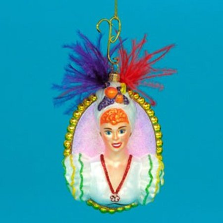 Polonaise Glass Lucy Babalu Bust Christmas Ornament #AP1879