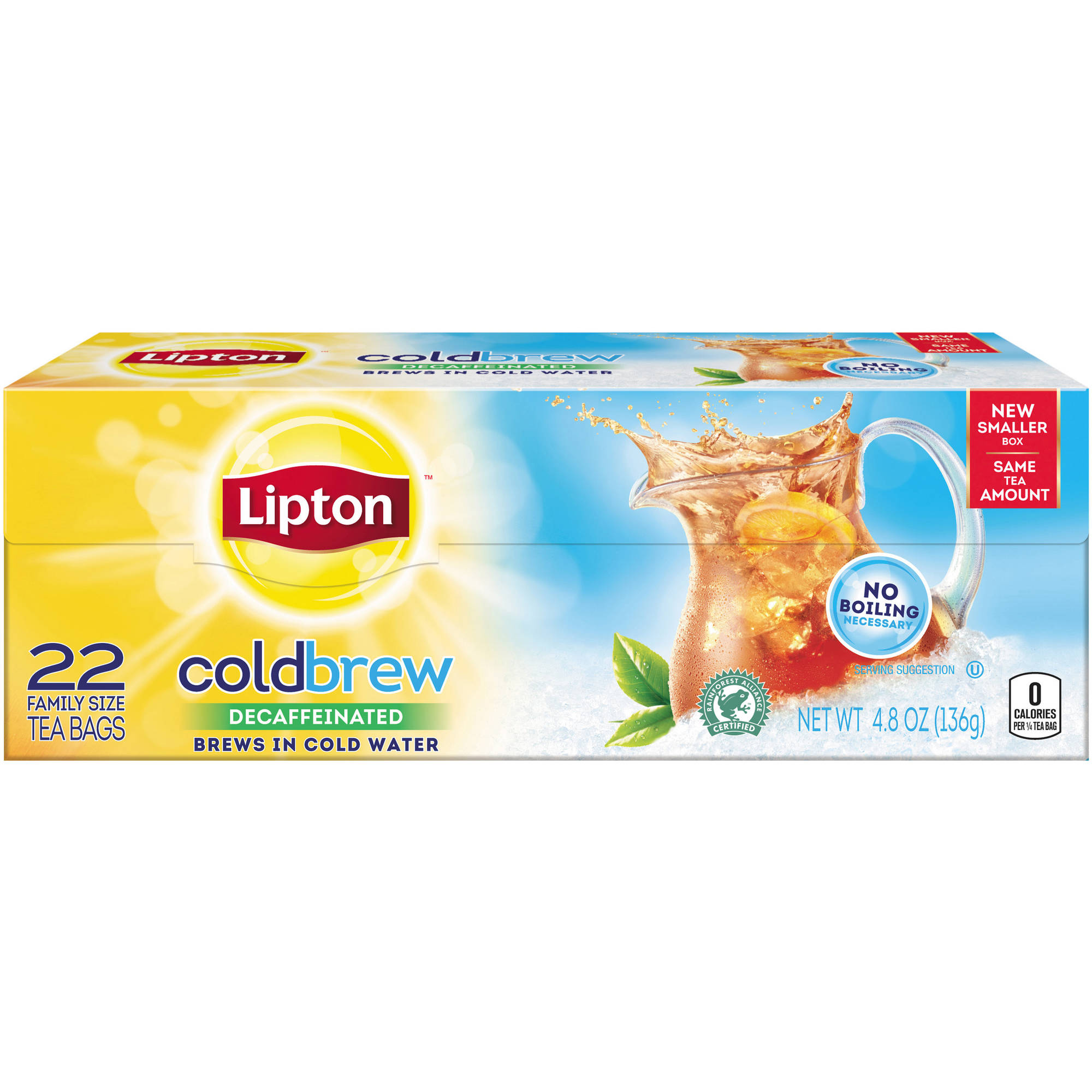 Lipton Cold Brew Decaffeinated Family Size Black Iced Tea Bags, 22 ct