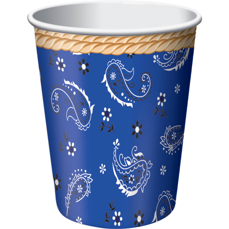 Blue Bandana Cowboy 9 oz Cups, 8pk