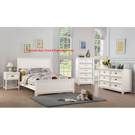 Victoria 3 Piece Full Size White Wood Contemporary Kids Bedroom Set ...