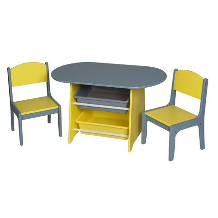 Gift Mark Children's Oval Table with 2 Chairs and 2 Storage Bins, Multiple Colors - Children's Craft Table