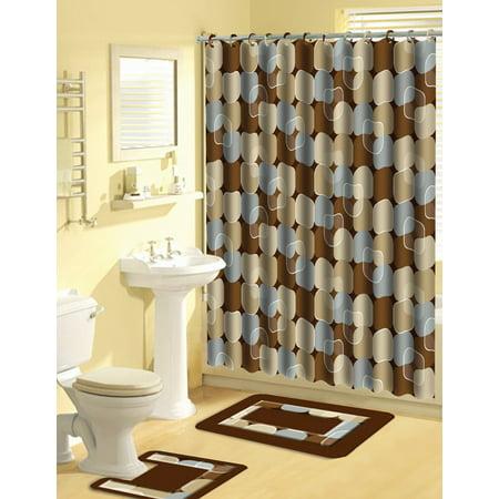 Modern Dots 15 Pieces Shower Curtain Contour Bath Mat w. Hooks Bathroom Rug Set (Dot Shower Curtain Hooks)