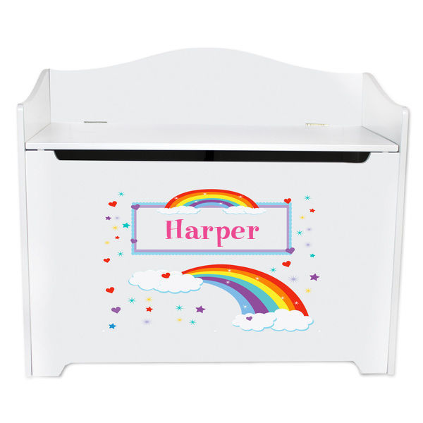 Personalized Rainbow Toy Box Bench Custom