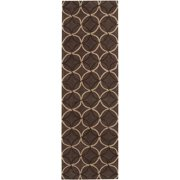 Hand-tufted Contemporary Brown Retro Chic Brown Geometric Abstract Area Rug - 2'6 x 8'