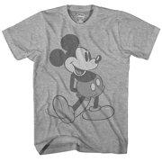 Disney Giant Mickey Mouse Disneyland World Tee Funny Humor Adult Mens Graphic T-Shirt, Heather Grey