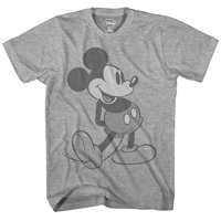 Disney Giant Mickey Mouse Disneyland World Tee Funny Humor Adult Mens Graphic T-Shirt, Heather Grey
