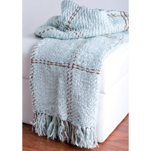 Rizzy Home Loom Woven Plaid Luxury Throw Blanket