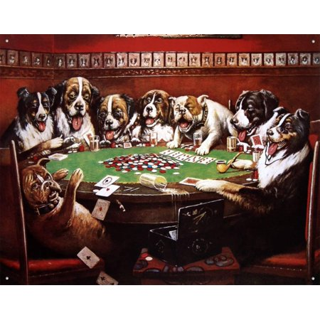 Eight Dogs Playing Cards Tin Sign - 16x12.5