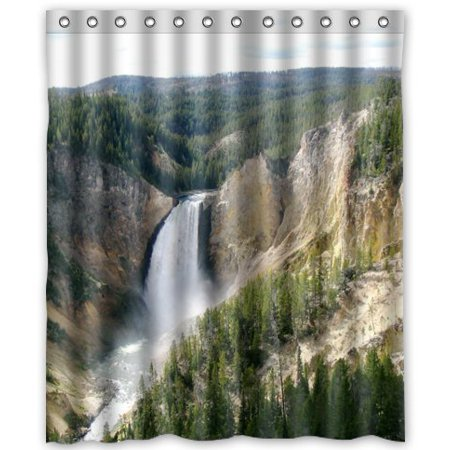 GreenDecor Grand Yellowstone National Park Waterproof Shower Curtain Set with Hooks Bathroom Accessories Size 60x72 (Best Way To See Yellowstone National Park)