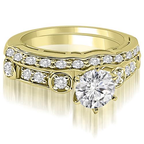 """1.25 cttw. 14K Yellow Gold Vintage Round Cut Diamond Bridal Set (I1, H-I)"""