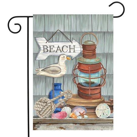 Beachy Vibes Summer Garden Flag Nautical Rustic Lantern 12.5