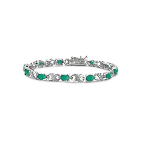 4 1/5 Carat T.G.W. Emerald And White Diamond Accent Sterling Silver (Platinum Emerald Cut Diamond Bracelet)