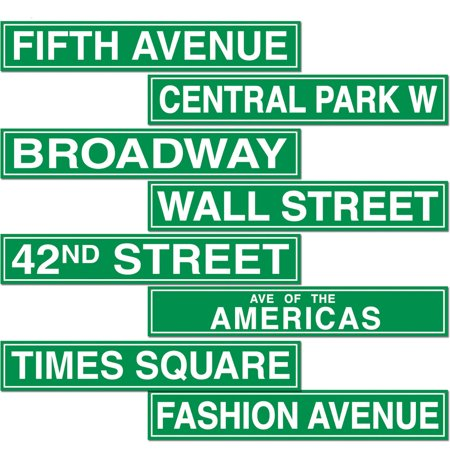 New York Street Signs Wall Cut Outs Poster Figurine Prop Set Decoration Cut Out Wall Decoration