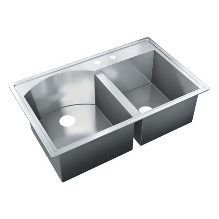 (Just Manufacturing 35'' L x 22'' W Self Rimming Double Bowl Kitchen Sink)