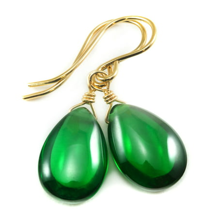 Cubic Zirconia Earrings Simulated Green Emerald Smooth Pear Shaped CZ Teardrops Sterling Silver Spyglass Designs