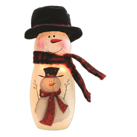 Stony Creek Lighted Glass Vase, Snowman with Black Hat,, 3.2