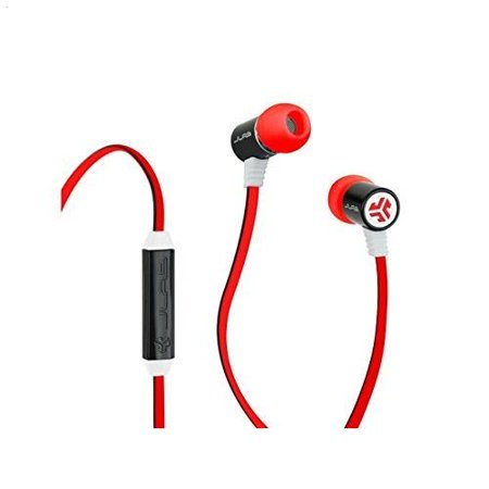 JLab Bass Rugged Metal Earbuds with JLab Bass Boost and Universal Mic -  Red/Black