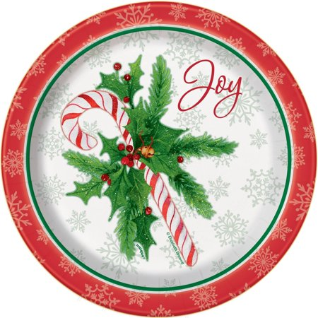 Candy Cane Christmas Paper Plates, 7 in, 8ct