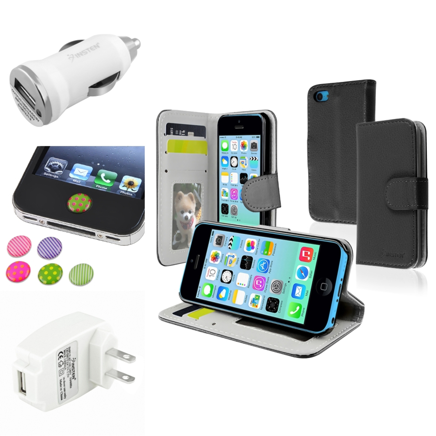 Insten Black Stand Wallet Card Leather Case White Home Car Charger Sticker For Apple iPhone 5C