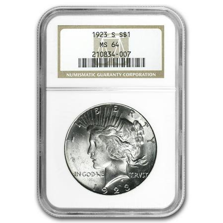 1923-S Peace Dollar MS-64 NGC