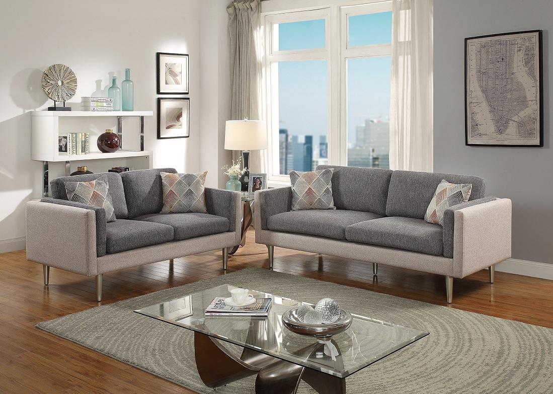 Gorgeous Modern Stylish Dual Tone Ash Black Sand 2pcs Sofa Set Sofa And Love Seat Metal Living Room Walmart Com