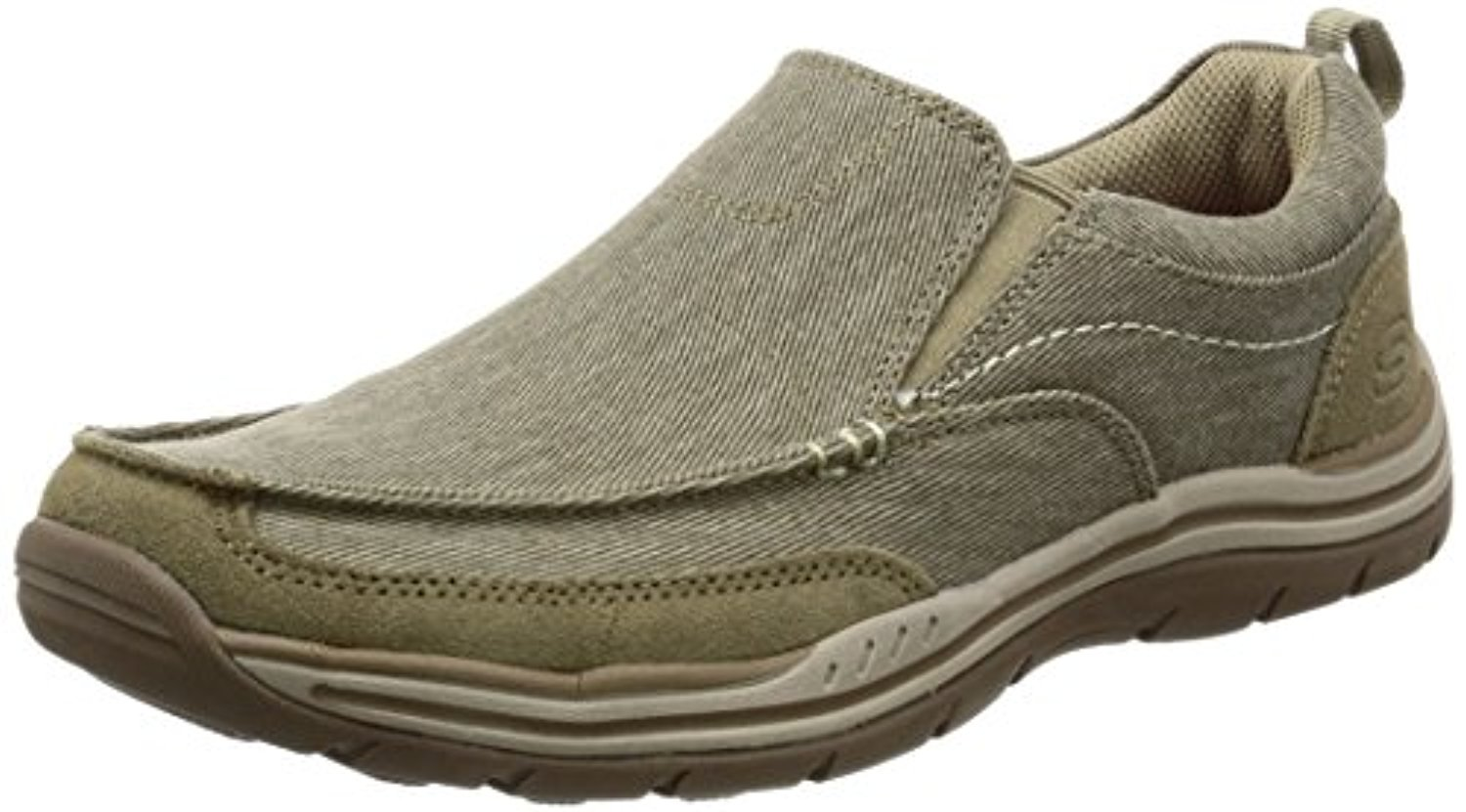 64928 Khaki Skechers Shoes Men Canvas Memory Foam Slip On Comfort Loafer Casual by Skechers