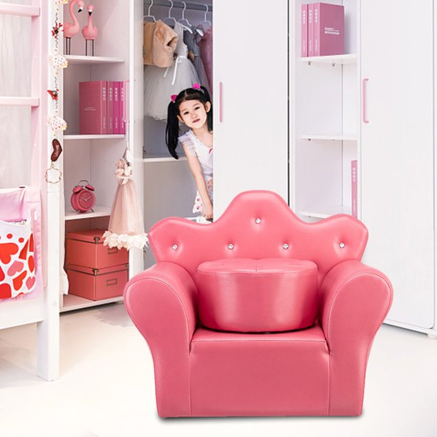 Kids Child Mini Sofa PVC Princess Sofa Furniture Armrest Chair Seat Couch Baby Girl Gift Rose Red Ottoman