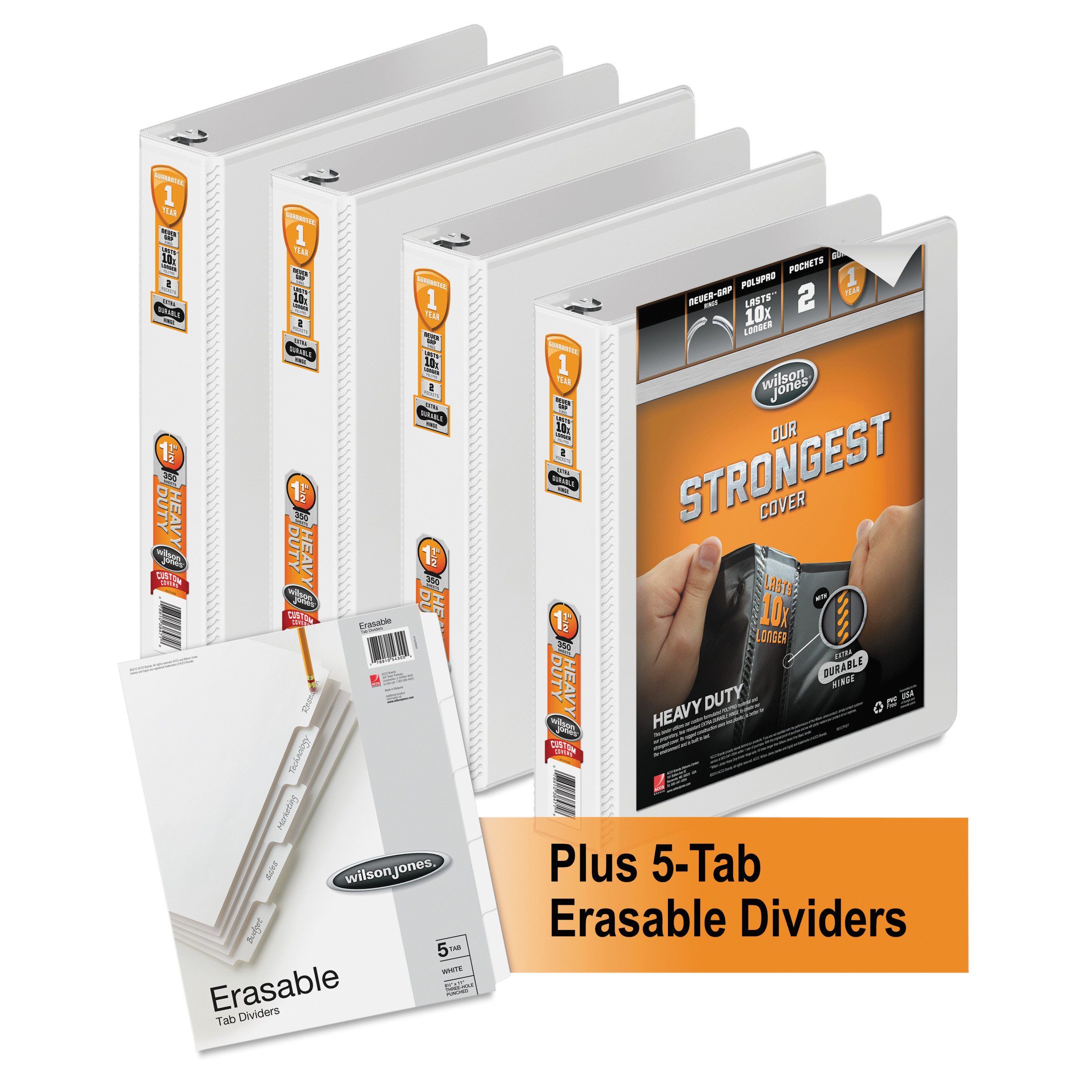 "Wilson Jones Heavy-Duty Round-Ring View Binder Plus Pack, 1-1/2"" Cap, White, 4pk -WLJ56334WU"