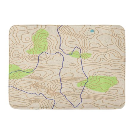 Image of GODPOK Typographic Hiking Abstract Topographical Map Flayer Wavy Graphic Wiggly Lines Landscape Area Rug Doormat Bath Mat 23.6x15.7 inch