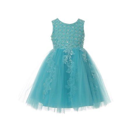 Cinderella Couture Girls Blue Pearl Lace Tulle Junior Bridesmaid Dress - Cinderella Clothes