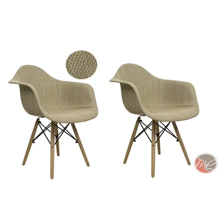 MADISON PARK SET OF 2 Modern Contemporary Eames HAVERFORD Leisure Chair Rattan Cream Beige Seating Accent for Dinning, Den, Bedroom or - Contemporary Madison Cream