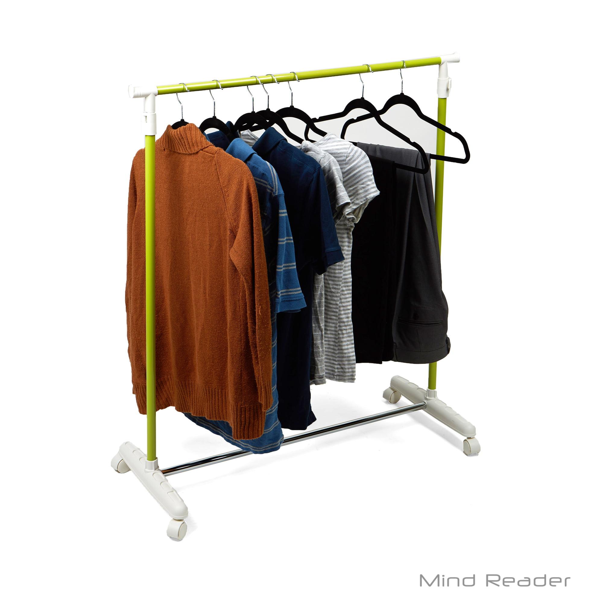 Mind Reader Metal Single Rolling Garment Rack, Green