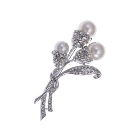 Faux Pearl Bead Flower Bud Bouquet Crystal Rhinestones Bridal Fashion Pin (Silver Flower Bridal Brooch)
