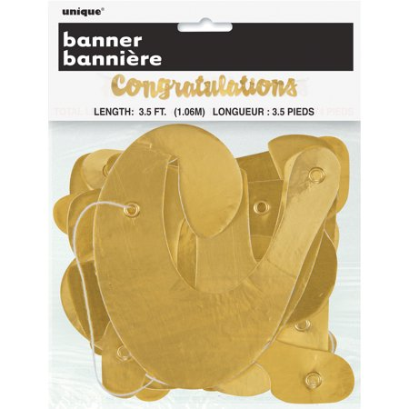 Foil Script Congratulations Banner  3 5 Ft  Gold  1Ct