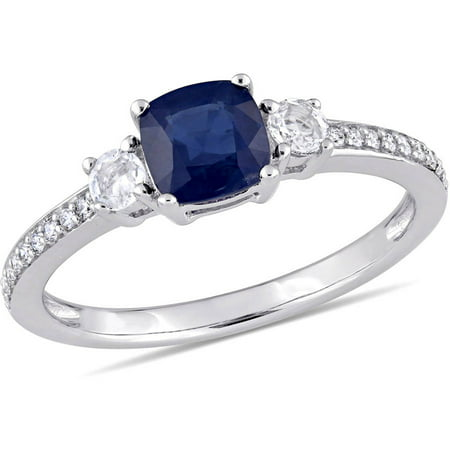 Tangelo 1-1/6 Carat T.G.W. Blue and White Sapphire and 1/10 Carat T.W. Diamond 14kt White Gold Engagement Ring